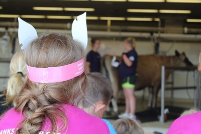 Children Watching Milking Demonstration