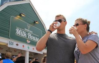 Couple Drinking Flavored Milk from the Milwaukee Bucks Milk House