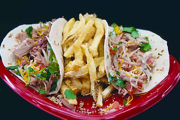 Blue Moon Marinated Pork Tacos with Garlic Fries