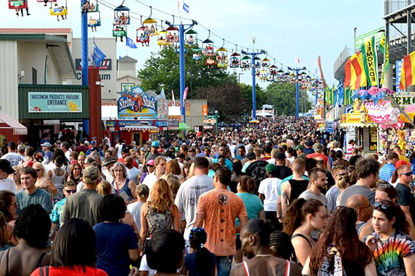 Busy Day on Grandstand Avenue at the Wisconsin State Fair