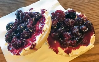 Smashed Blackberry Goat Cheese Bagel