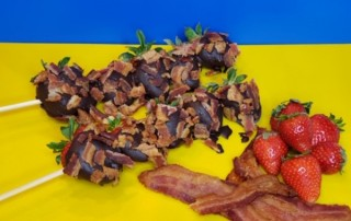 Chocolate-Covered Bacon Berry Kabobs