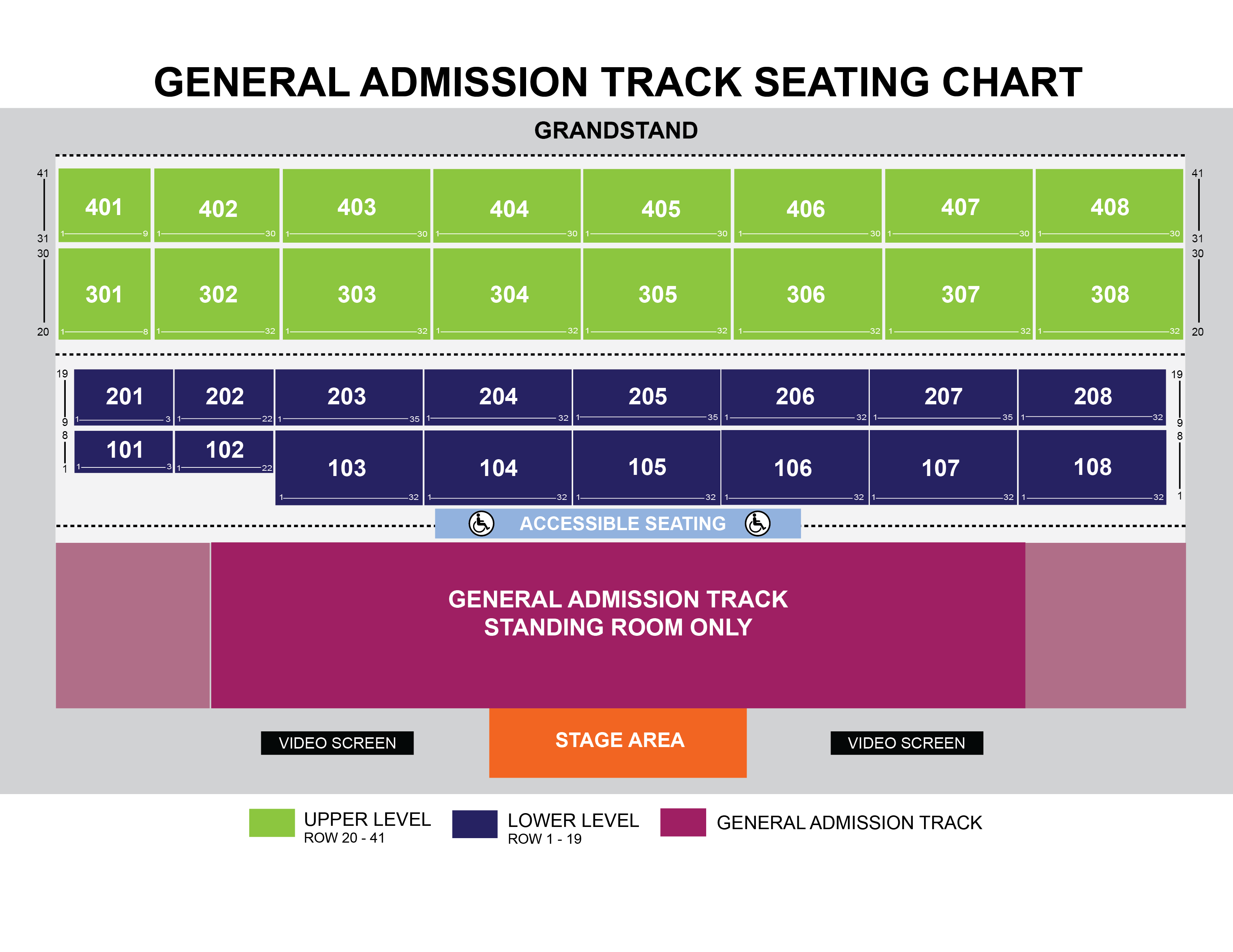 Main Stage Seating Chart with General Admission Track