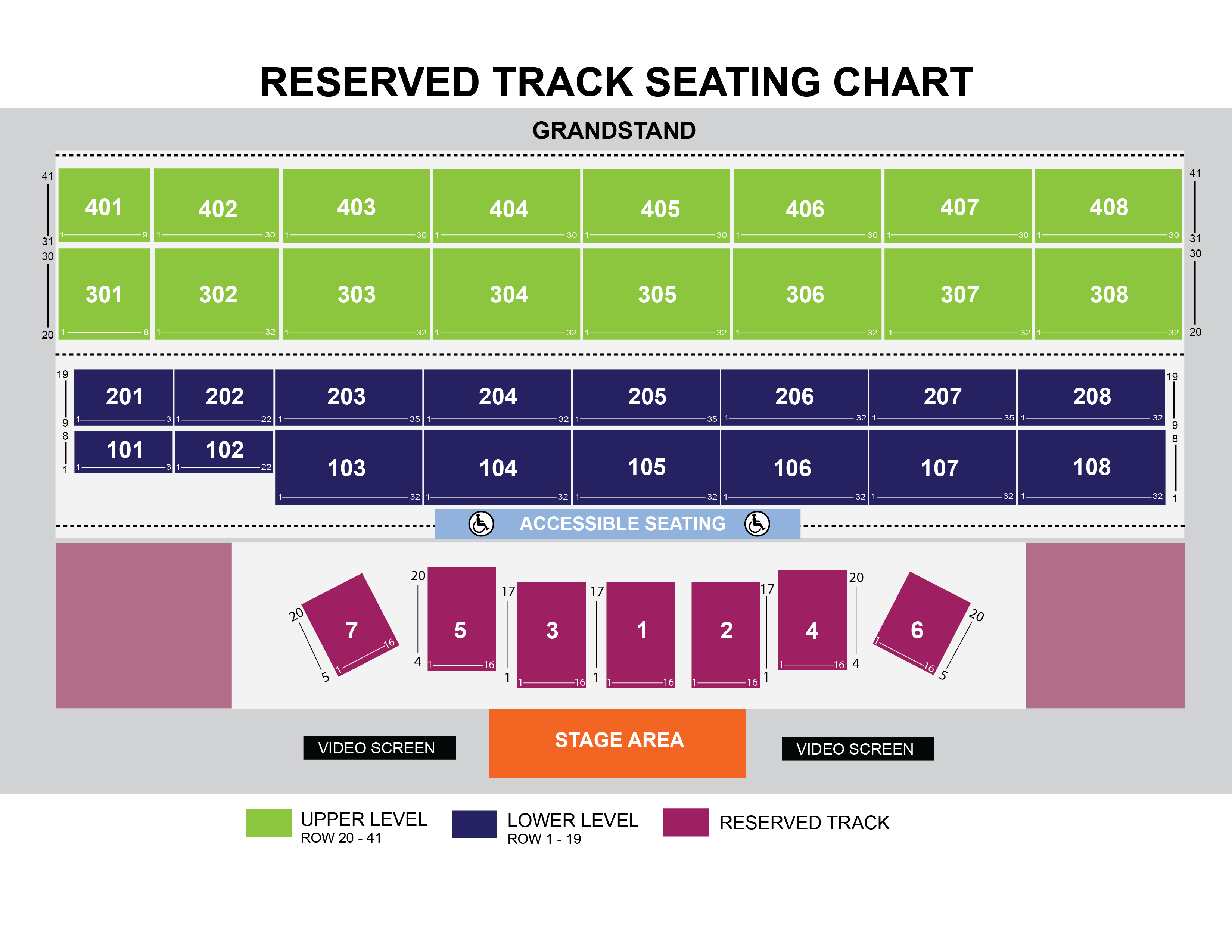 Main Stage Seating Chart with Reserved Track Seating