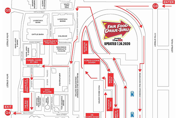 Updated Week 1 Route Map for Fair Food Drive-Thru