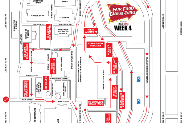 Week 4 Route Map of Fair Food Drive-Thru presented by Bank Five Nine
