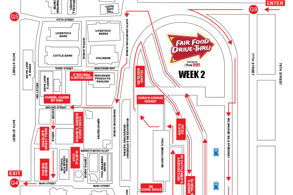 Week 2 Route Map of the Fair Food Drive-Thru presented by Bank Five Nine